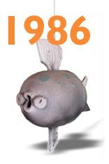 Happy Raku Fish in 1986